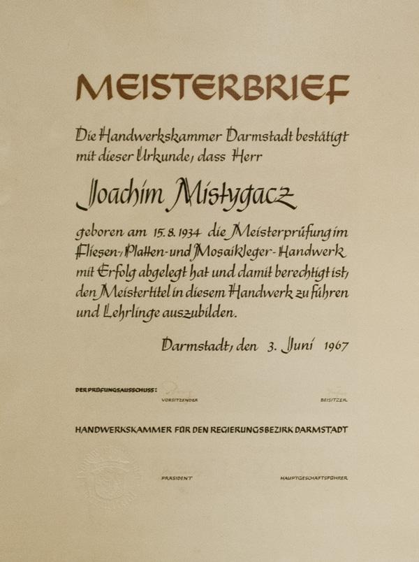 Meisterbrief - Joachim Mistygacz - Bad & Fliese